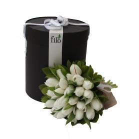 Bouquet With Tulips In Round Box  - 1