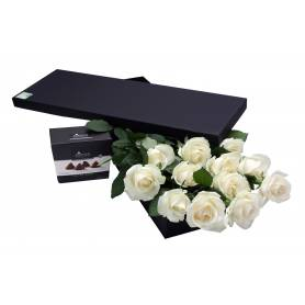 White Roses & Chocolate Truffles In A Box  - 1