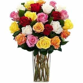 Μπουκέτο Με 24 Πολύχρωμα Τριαντάφυλλα  - 1