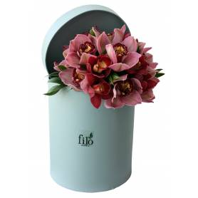 Bouquet With Cymbidium Orchids In Round Box  - 1
