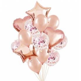 Gold Pink Balloon Bouquet  - 1