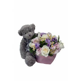 Αρκουδάκι Κορίτσι Με Σύνθεση Λουλουδιών  - 1