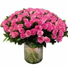 Bouquet With 100 Roses Pink  - 1