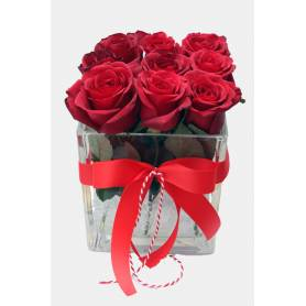 Roses in Glass Cube  - 1