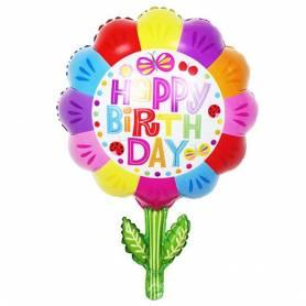 Μπαλόνι Foil Happy Birthday Λουλούδι  - 1