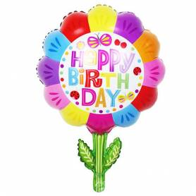 Foil Ballon Happy Birthday Flower  - 1