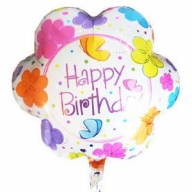 Μπαλόνι Happy Birthday Λουλούδια  - 1