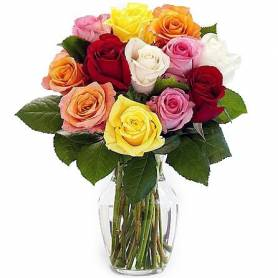 Bouquet With 12 Colorful Roses  - 1