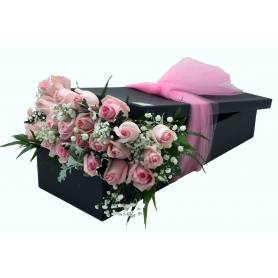 24 Pink Roses in a Box  - 1
