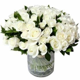 Ανθοδέσμη Με 100 Λευκά Τριαντάφυλλα  - 1